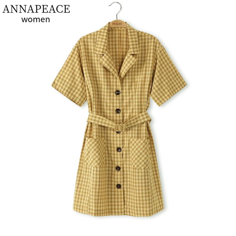 A1FA92877B3皇冠太平鸟女装2020春季黄色格纹连衣裙A1FA92877