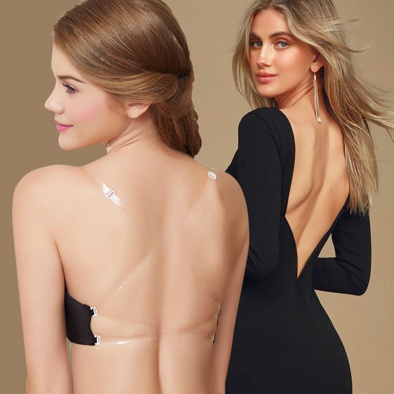 美背超薄款透明隐形无钢圈深v肩带