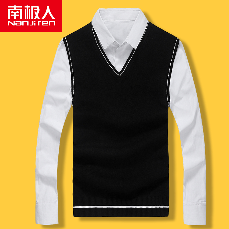 Antarctic autumn winter sweater vest mens sleeveless sweater V-neck mens Knitted Vest sweater jacket mens wear