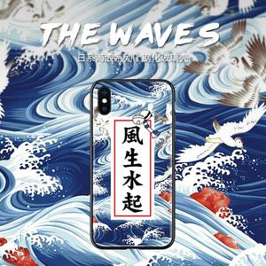风生水起苹果11手机壳xr简约12pro新年se2玻璃X文字12男士11pro个性8日系phone 7plus创意12mini潮7女xs max