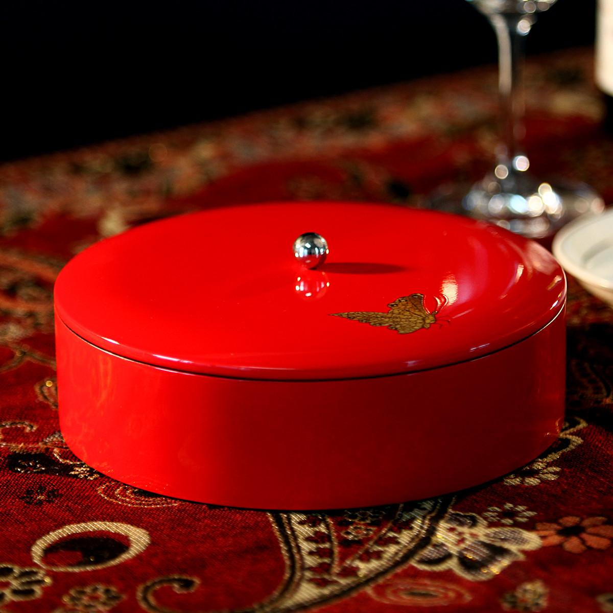 实木漆器喜糖盒红色瓜子干果分格收纳盒新年婚庆糖果盘客厅小摆件