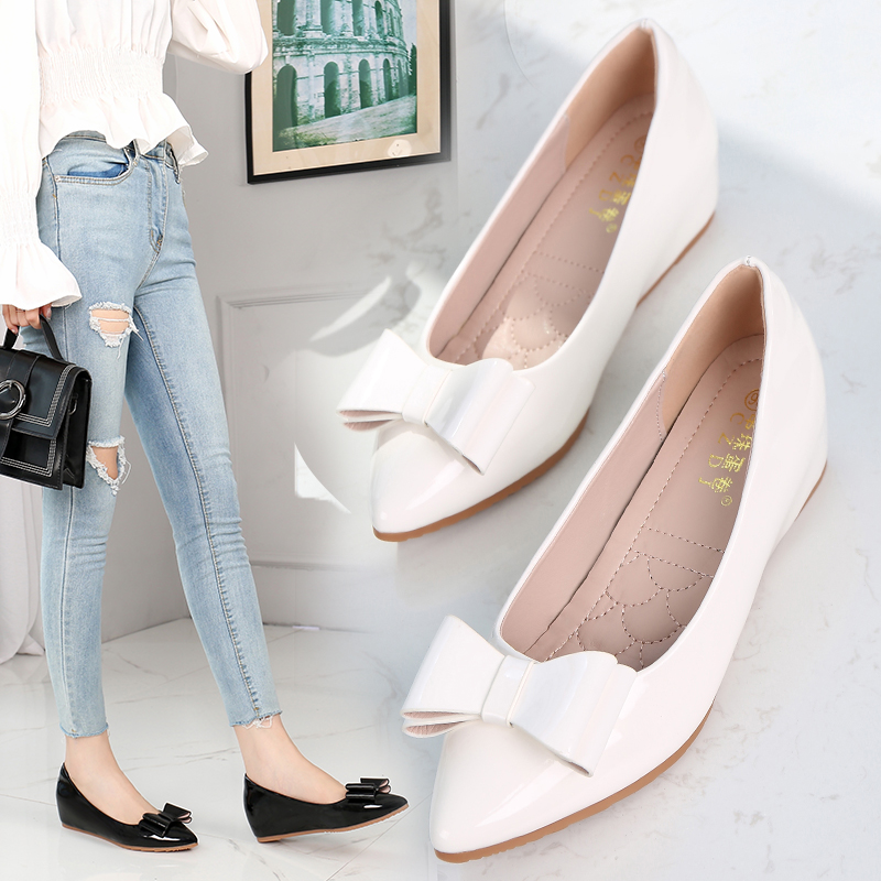 Inner raised pointed flat sole single shoe womens spring 2019 new versatile bow small shallow mouth slope heel Doudou shoes