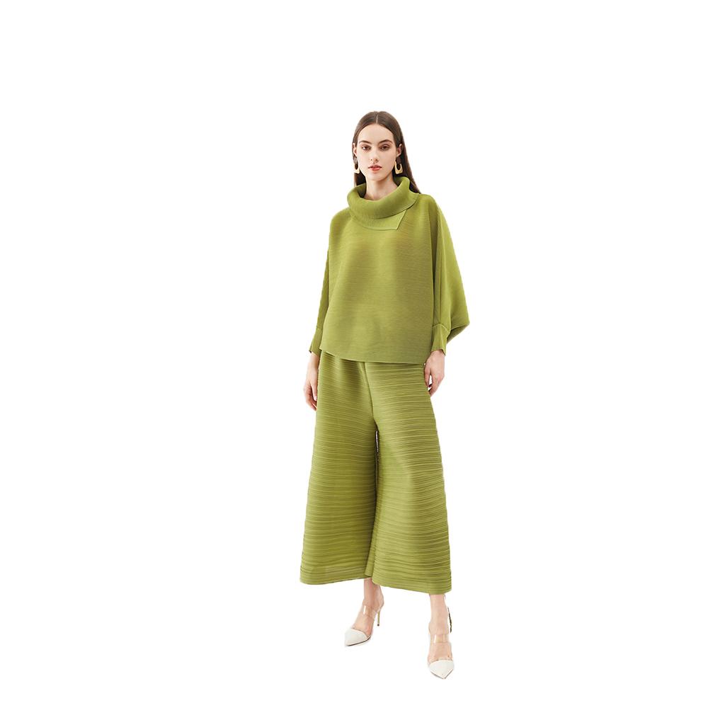 2021春夏新款围巾领高腰时尚休闲套装后宫裤蝙蝠袖上衣阔腿裤