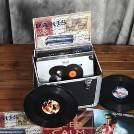 黑胶唱片收纳箱LP收藏箱 影碟胶片箱大盒子手提式储物整理金属箱