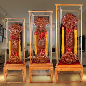 桃木如意摆件立式实木雕刻镇宅招财家居客厅办公室装饰品开业礼品