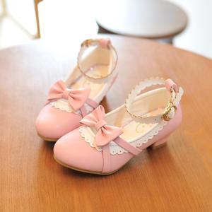 春秋新款儿童皮鞋真皮韩版女童高跟鞋艾莎蝴蝶结公主鞋中大童单鞋