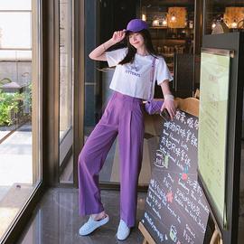 夏装2020新款紫色蝴蝶短袖T恤女短款韩版露脐性感网红上衣套装