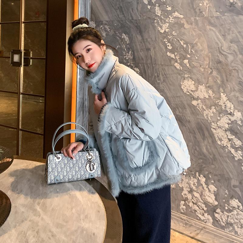 【月光少女】立领拼接水貂毛羽绒服女短款2020年新款冬季菱格外套