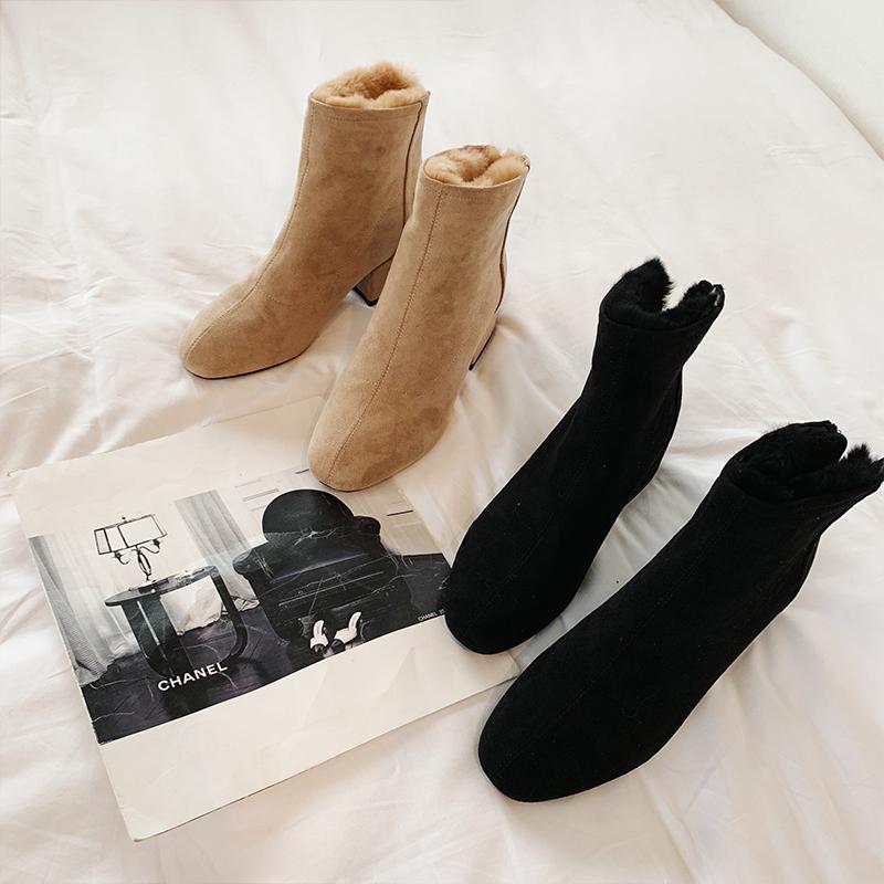 梦梦家女装秋冬季2018新款加绒加厚保暖雪地靴粗跟方头平底鞋子@