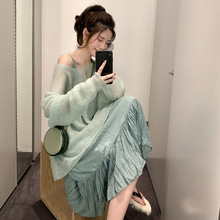 Autumn Dress 2019 New Suspended Skirt Mori Fairy Chiffon Dress Gentle Loose Thin Sweater Suit Skirt