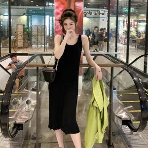 黑色针织吊带连衣裙中长款新款显瘦过膝长袖打底裙子@