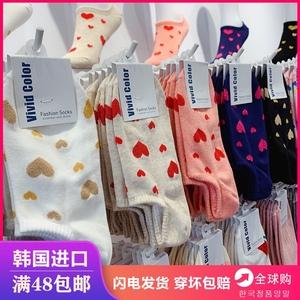 韩国袜子女亮丝爱心短袜春夏季浅口可爱低帮船袜网红学院风棉袜套