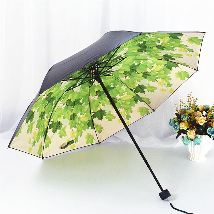 韩国创意黑胶太阳伞防晒防紫外线遮阳伞拱形折叠公主晴雨伞女清新