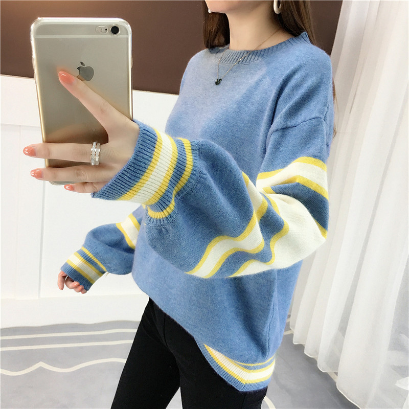 Autumn and winter womens solid color sweater womens Pullover Korean half high collar thickened short sweater top bottom