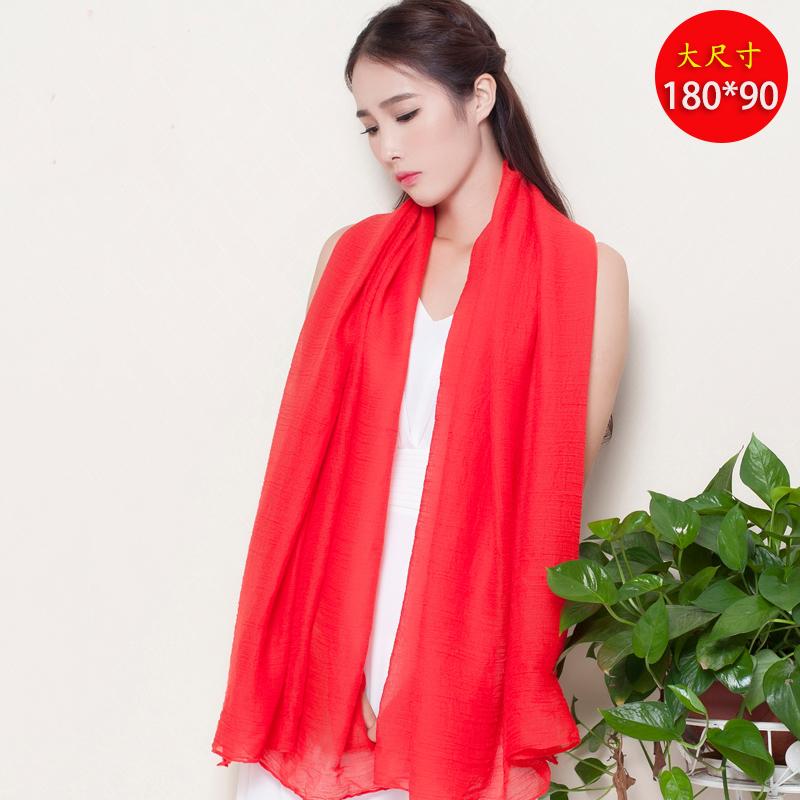 韓国のスカーフの大きな赤いスカーフ、女性の春と秋の冬の暖かさと純色の綿と麻の両用ストール学生マフラーマフラーマフラーマフラー