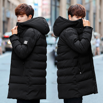 Winter men with velvet thickened medium and long cotton coats 2018 new cotton Clothes Korean version of the trend winter clothing small cotton-padded jacket