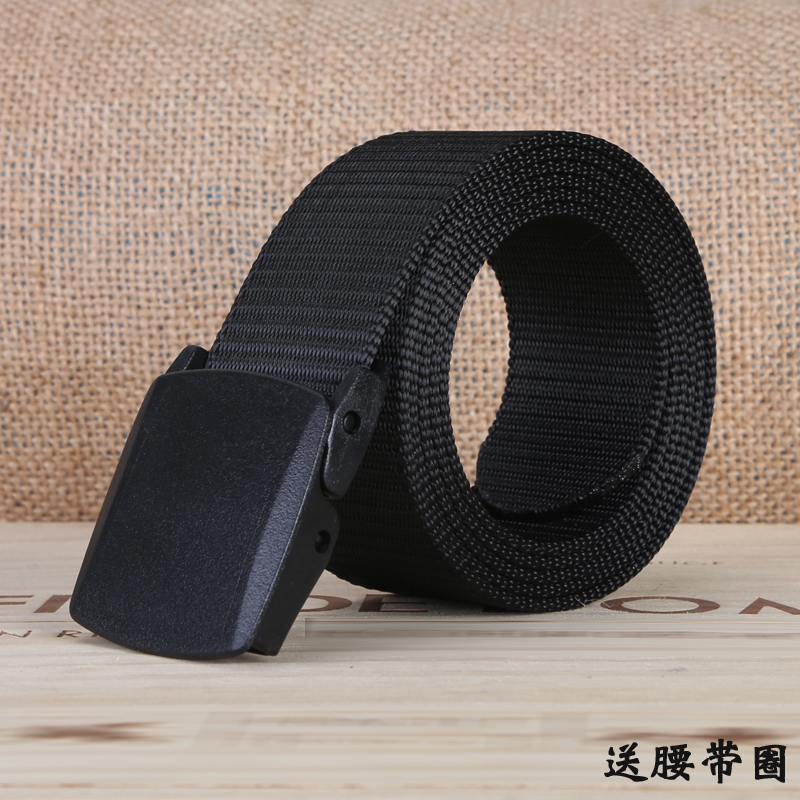 No metal plastic button student canvas belt mens leather belt trendy mens outdoor pants