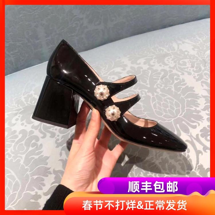 飞燕新款法式复古玛丽珍鞋漆皮一字扣单鞋女圆头黑色高跟鞋女粗跟