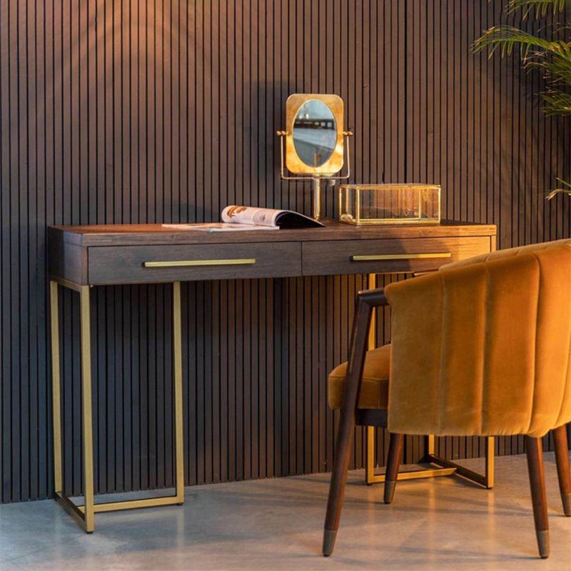 北欧の実木のコンピュータの机の書斎の事務机は簡単で軽度で贅沢な小型の部屋型の寝室が化粧台の多機能の木のテーブルを整えます。