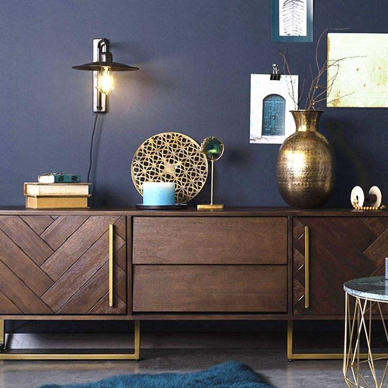 北欧の全実木テレビの箱のお茶の組み合わせは現代で簡単で贅沢な家庭用の小さな部屋型の客間の多機能な戸棚です。