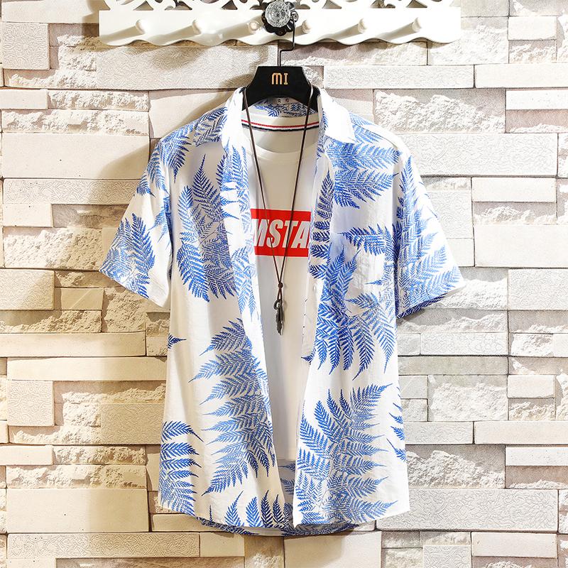 夏季半袖花衬衫男潮大码宽松夏威夷度假短袖小碎花衬衣CS801P35