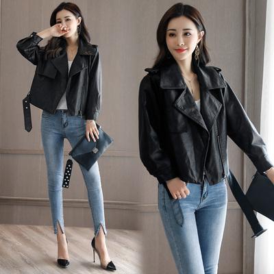2017秋季新款韩版时尚休闲短款修身百搭PU皮外套女装YYG82279F140