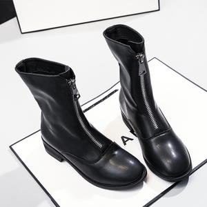 前拉链短靴女2019年秋冬新款百搭女靴真皮中粗跟百搭马丁靴中筒靴