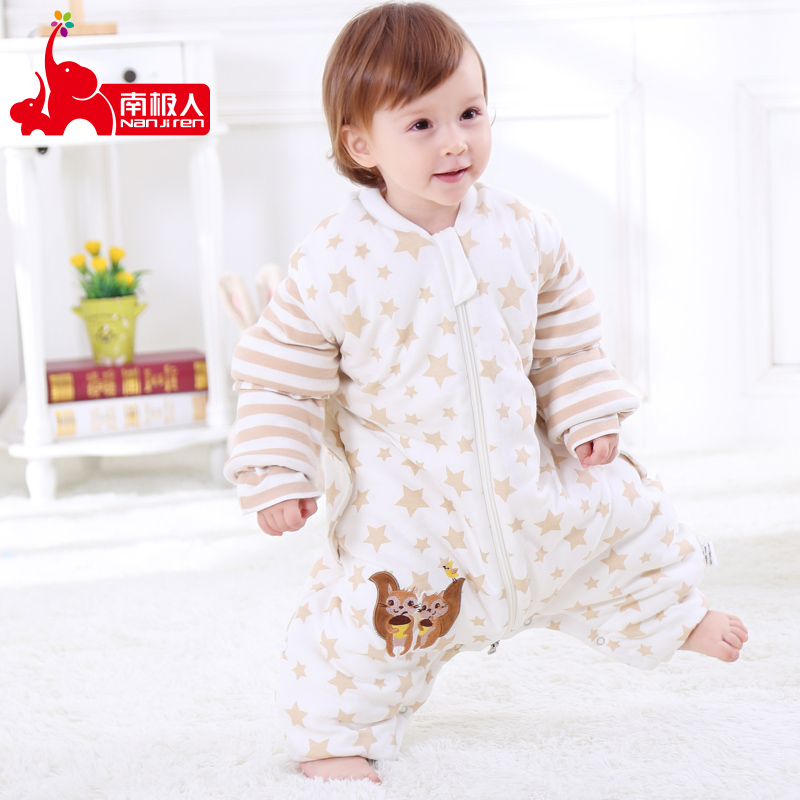 Baby pure cotton sleeping bag thickened in autumn and winter childrens anti kicking thin artifact is used in spring and Autumn