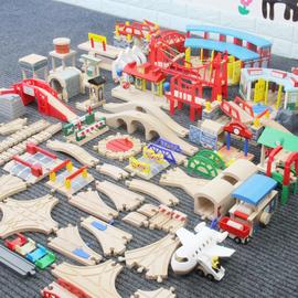 木制轨道木质磁力轨道车小火车积木拼装儿童益智玩具配件散件男米