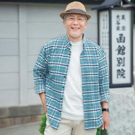 春秋爸爸衬衫长袖加厚磨毛中老年人保暖衬衣中年男装格子寸衣爷爷
