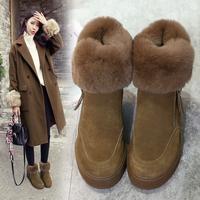 真皮加绒厚底内增高兔毛雪地靴女短筒毛毛短靴子冬季2019新款棉鞋