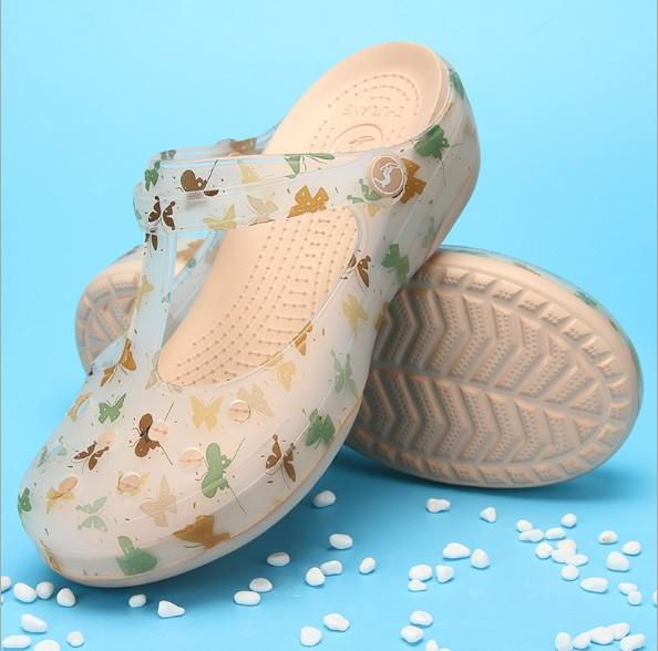 热销28件不包邮防滑夏季印花玛丽珍软底孕妇洞洞鞋