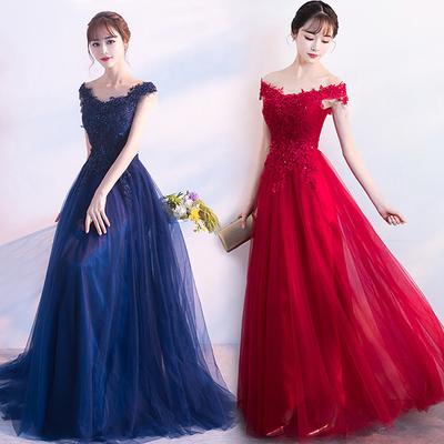 敬酒服新娘长款2018新款结婚礼服红色蕾丝一字肩订婚显瘦晚礼服女
