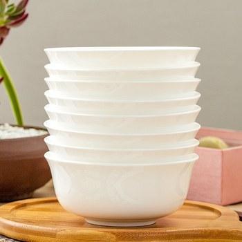 唐山纯白色骨瓷家用陶瓷米饭碗餐具