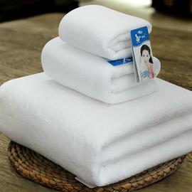 洁玉纯白色纯棉浴巾毛巾方巾加厚三件套装 酒店全棉套巾柔软吸水图片