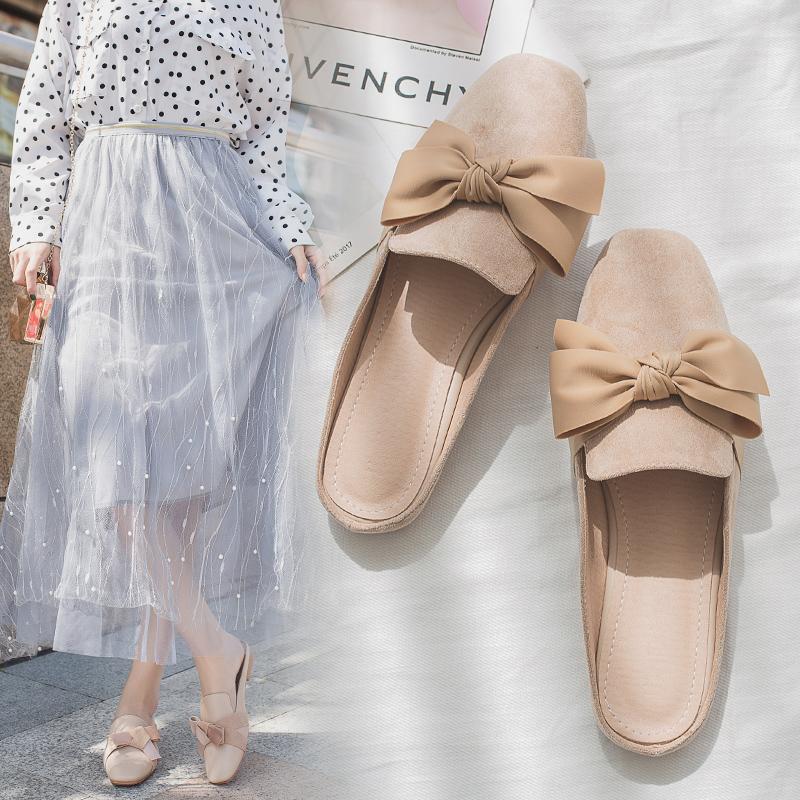 2020夏季新款网红少女心无后跟懒人包头半拖鞋女外穿时尚百搭平底