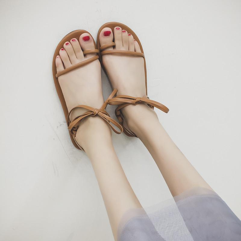 2018夏季新款百搭平底涼鞋女套趾蝴蝶結學生鞋平跟羅馬沙灘鞋女鞋