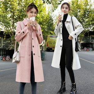 粉色娃娃领毛呢大衣女中长款过膝秋冬装加棉加厚修身气质呢子