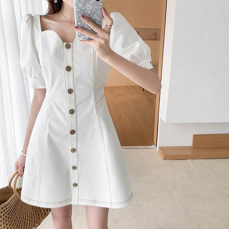 (用1元券)MUKOK2019新款夏季法国小众复古气质修身显瘦短袖a字白色连衣裙女