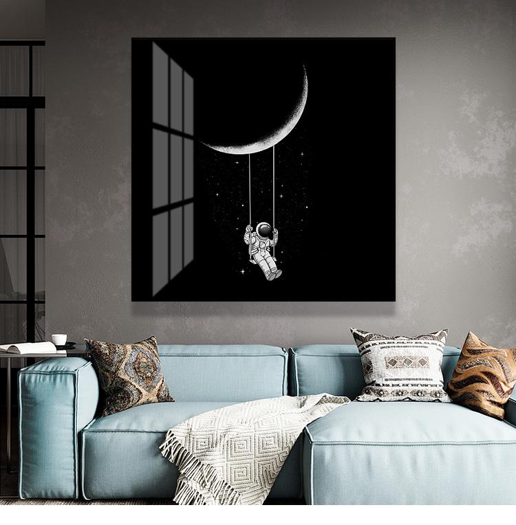 黑白宇航员科幻餐厅卧室客厅装饰画