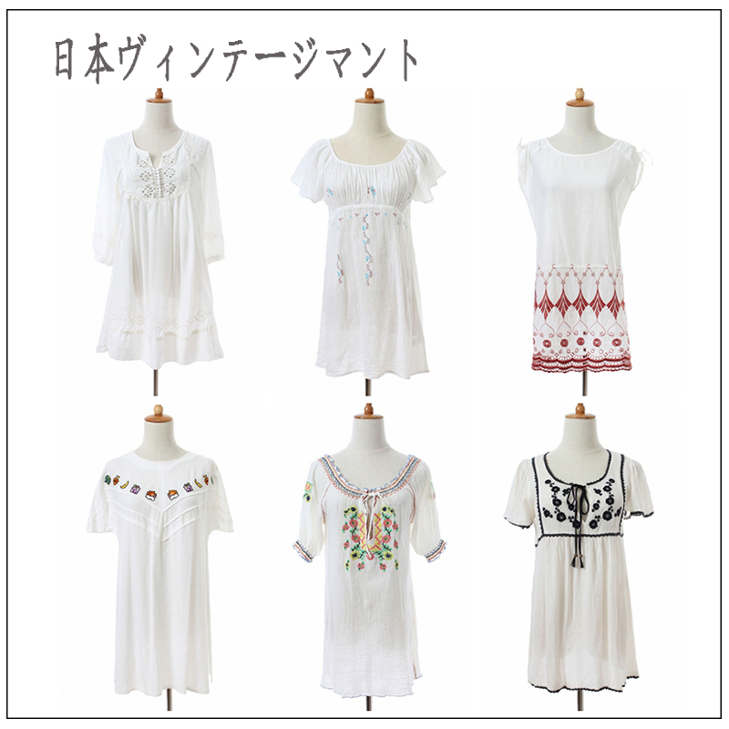 Summer Vintage Vintage Vintage literary style short sleeve long shirt Mori womens Japanese forest embroidery