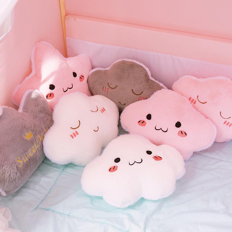 ins 暖手抱枕被子两用星星云朵靠垫床头靠枕午睡小毯子办公室神器