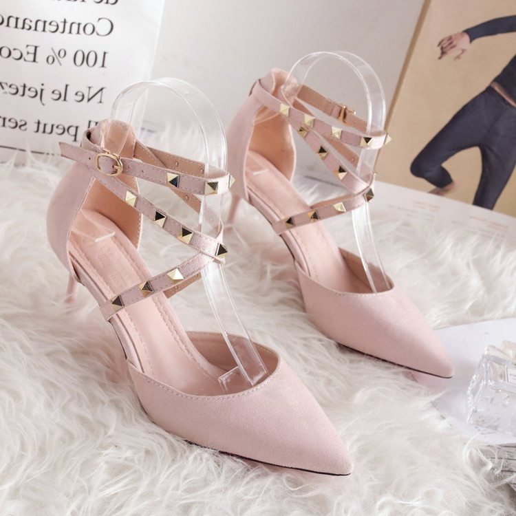 2021 new cat heel shoes cross strap Korean thin high heel sandals womens Rivet pointed lady shoes pink small size
