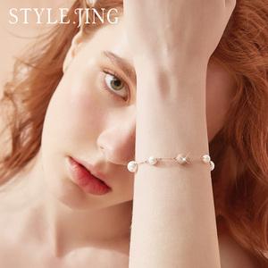 手链女采用施华洛元素水晶珍珠手串ins小众设计手饰闺蜜生日礼物