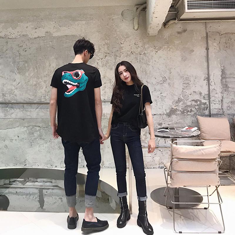 阿姐家不一样的情侣装短袖2019夏装新款韩版百搭鳄鱼印花t恤女潮
