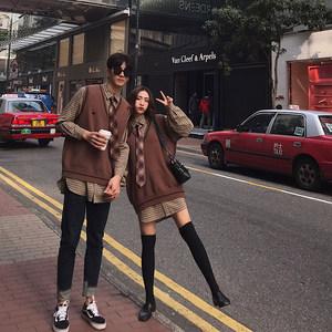 阿姐家定制2019新款秋季情侣装爱心针织女网红两件套背心格纹衬衫