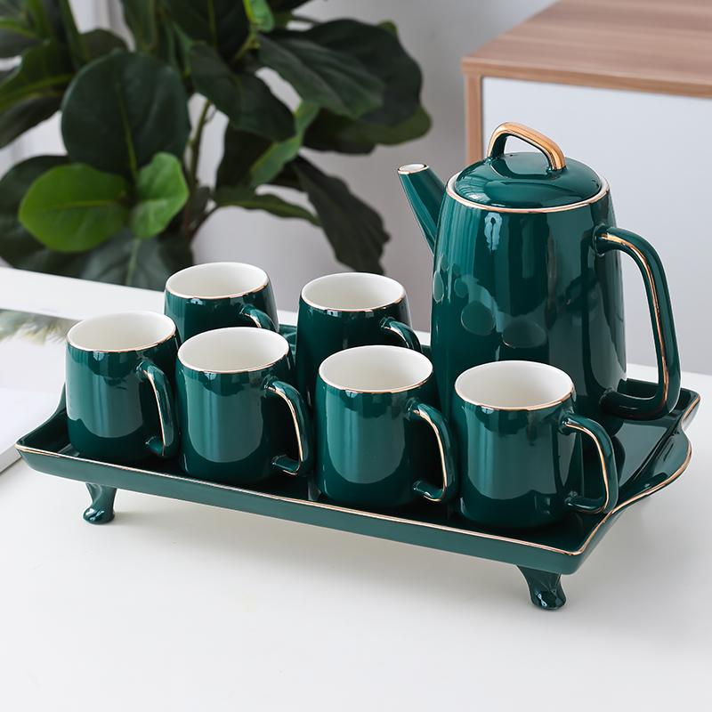 水杯杯具陶瓷杯子茶具套装茶杯水壶家用轻奢杯子带托盘北欧家水壶淘宝优惠券