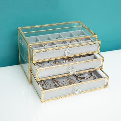 欧式抽屉式饰品收纳首饰盒玻璃耳环耳钉戒指项链珠宝收纳盒防尘