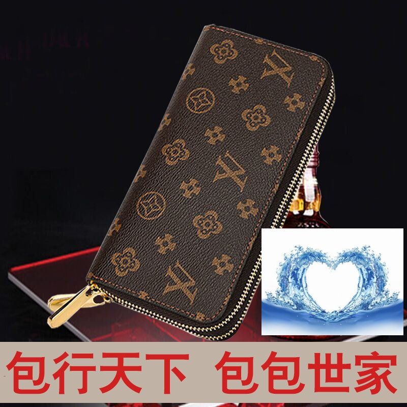 Famous brand old flower Long Wallet Leather Mens and womens hand bag double zipper luxury purse short half fold cowhide bag