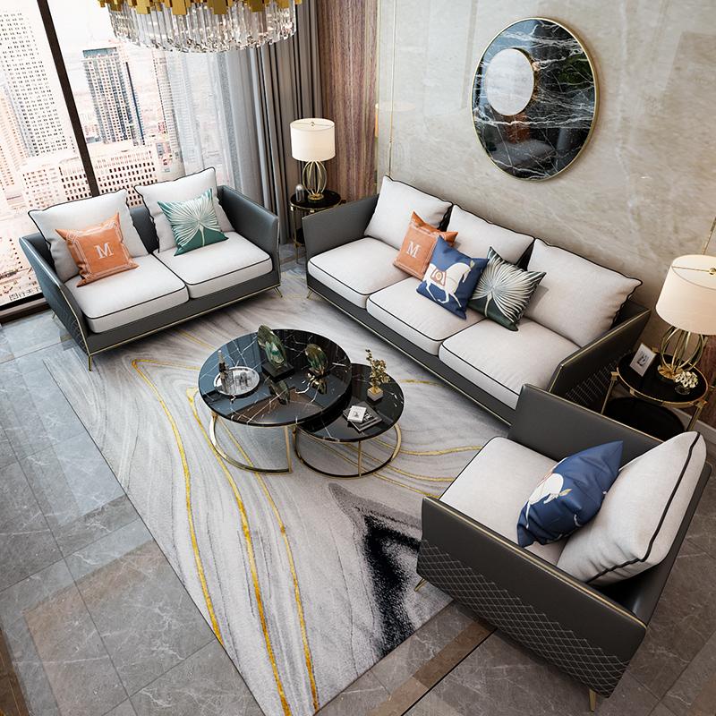 轻奢沙发意式极简后现代北欧风皮布布艺港式真皮组合现代美式家具限100000张券